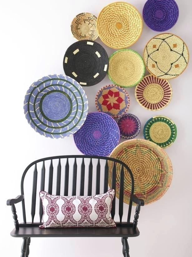 Woven Basket Wall Art Love These Woven Baskets Hung Overlapping On Within Woven Basket Wall Art (View 8 of 10)