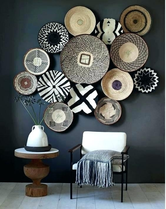 Woven Basket Wall Decor Bamboo Art With Round Wicker Frame Basket Within Woven Basket Wall Art (Image 10 of 10)