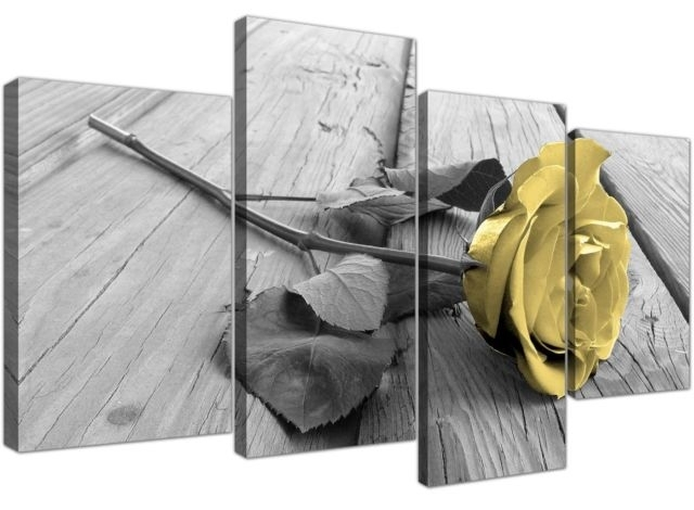 Yellow And Grey Canvas Wall Art Of Rose Pictures For Your Living Pertaining To Yellow Wall Art (View 2 of 10)