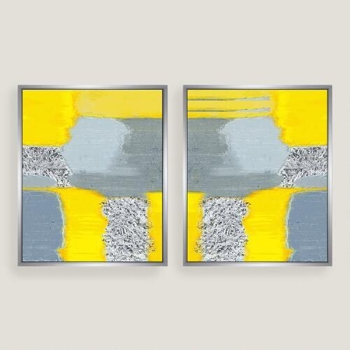 Yellow Grey Abstract Canvas Wall Art Within Yellow Wall Art (View 8 of 10)