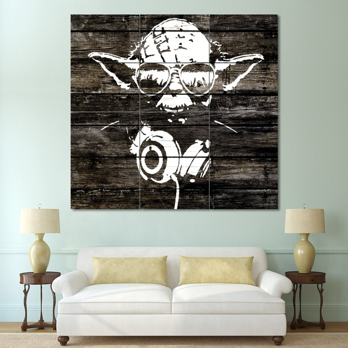 Yoda Wood Graffiti – Star Wars Block Giant Wall Art Poster Intended For Giant Wall Art (Image 10 of 10)