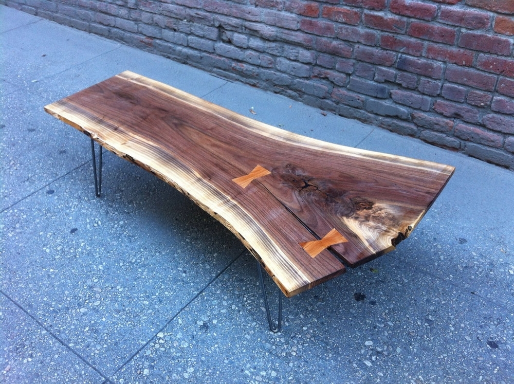 10070 — Pasadenaville Live Edge Wood Slab Tables And Furniture Los For Chiseled Edge Coffee Tables (View 12 of 40)