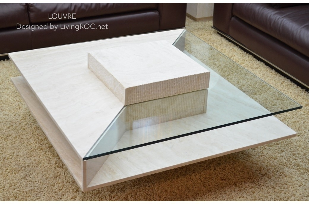 100X100Cm Square Travertine Marble Coffee Table – Louvre Regarding Marble Coffee Tables (Image 1 of 40)