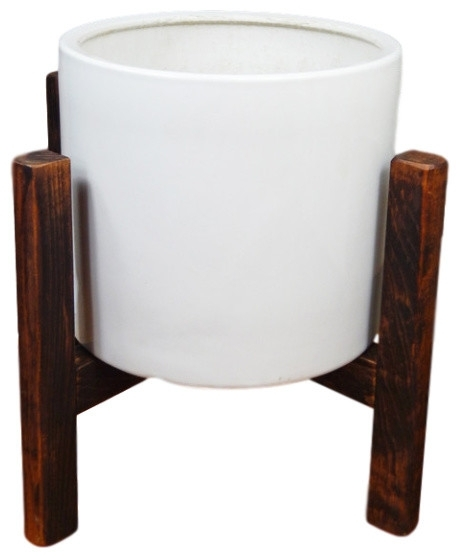 13'' Large Midcentury Modern Plant Stand, Dark Walnut – Midcentury Throughout Mid Century Modern Egg Tables (Image 1 of 40)