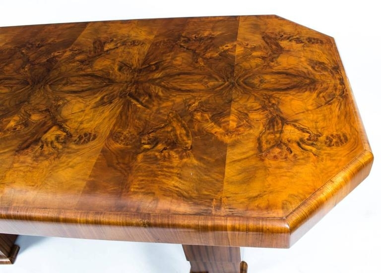 1930S Art Deco Burr Walnut Dining Table Six Chairs For Sale At 1Stdibs In Antiqued Art Deco Coffee Tables (Image 1 of 40)