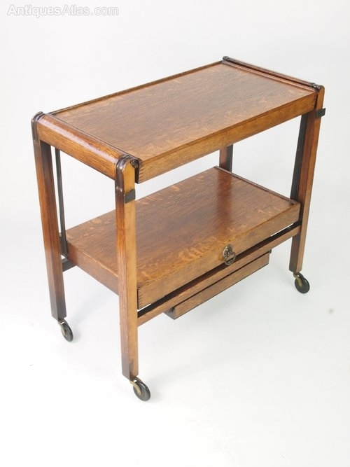 1930S Art Deco Metamorphic Oak Trolley Side Table – Antiques Atlas Pertaining To Antiqued Art Deco Coffee Tables (Image 2 of 40)