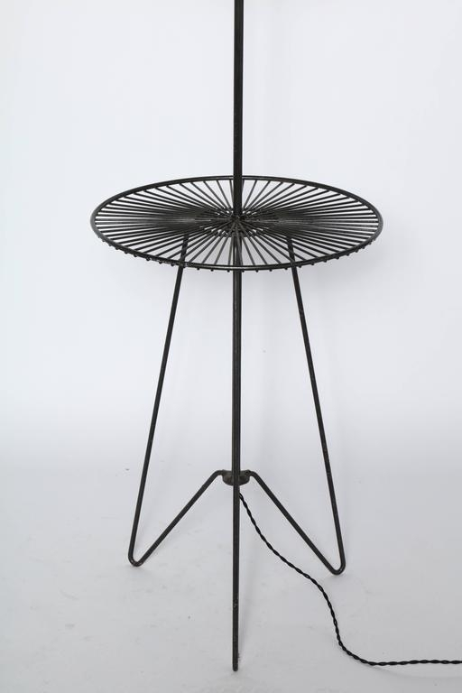 1950S Black Wrought Iron And Black Wire Sunburst Reading Floor Lamp Pertaining To Black Wire Coffee Tables (Image 1 of 40)