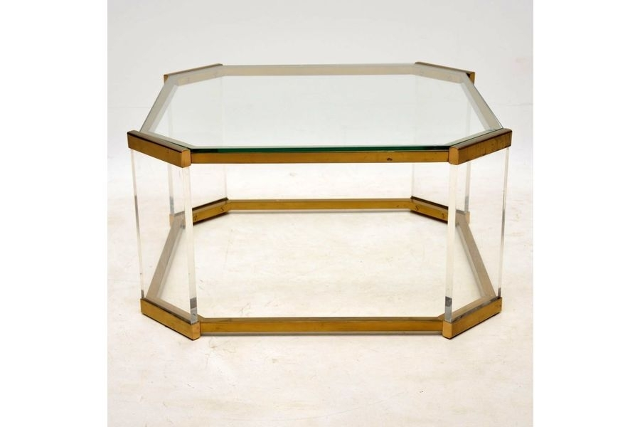 1970's Vintage Glass, Brass & Acrylic Coffee Table | Vinterior With Regard To Acrylic Glass And Brass Coffee Tables (View 23 of 40)