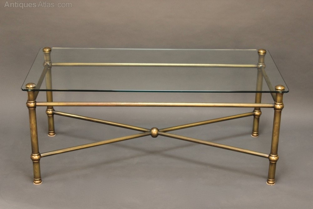 20Thc Glass And Brass Coffee Table – Antiques Atlas In Antique Brass Coffee Tables (View 11 of 40)