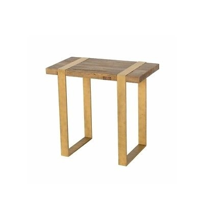 "26"" Wide End Table Solid Reclaimed Old Growth Elm Iron Ribbon Legs Inside Reclaimed Elm Iron Coffee Tables (View 35 of 40)"