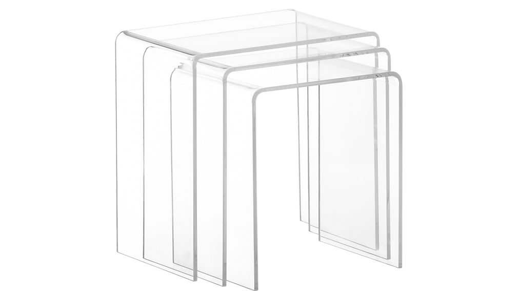 3 Piece Peekaboo Clear Nesting Tables | Cb2 With Regard To Peekaboo Acrylic Coffee Tables (Image 1 of 40)
