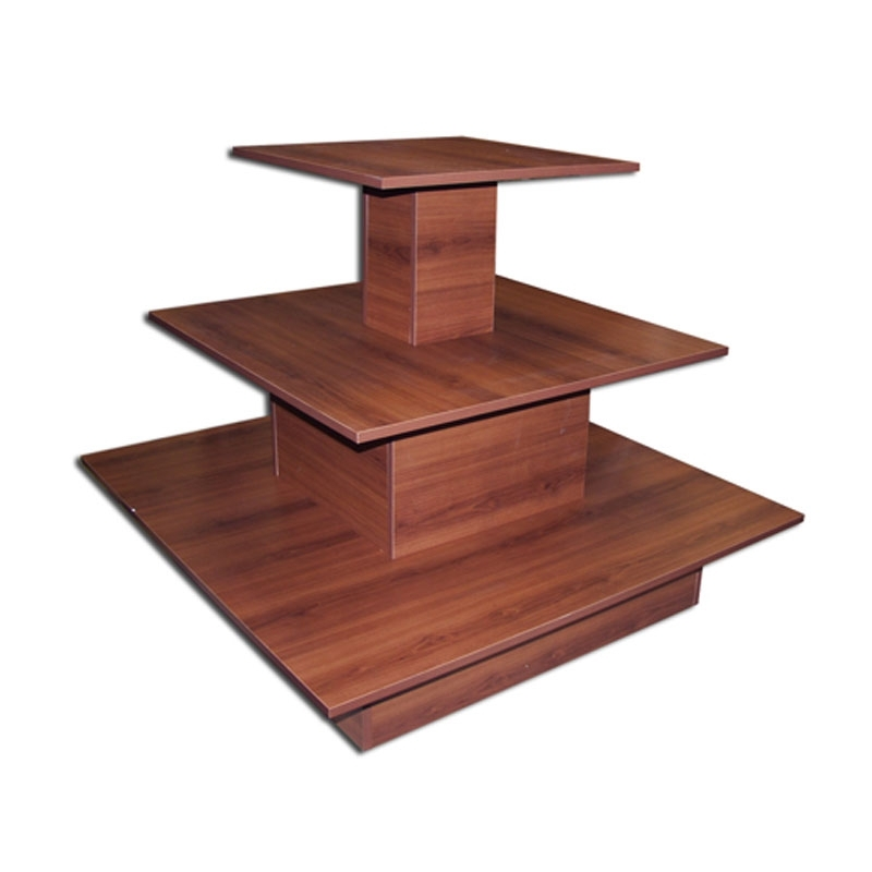 3 Tier Square Waterfall Table Cherry With Regard To Square Waterfall Coffee Tables (View 19 of 40)