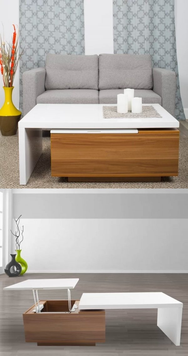 33 Beautiful Lift Top Coffee Tables To Help You Declutter & Multi Task Intended For Laurent Lift Top Cocktail Tables (Image 8 of 40)
