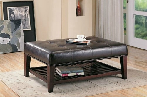 36 Top Brown Leather Ottoman Coffee Tables With Regard To Button Tufted Coffee Tables (View 6 of 40)