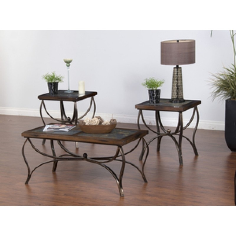 3Pc Santa Fe Slate/ Metal End Table And Coffee Table With Regard To Santa Fe Coffee Tables (Image 2 of 40)