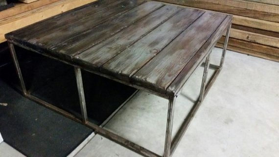 3'x3'x16 Industrial Coffee Table От Hagoodscustomtables На Etsy With Regard To Jacen Cocktail Tables (Image 1 of 40)