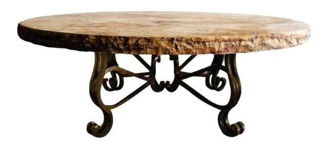 48 Coffee Table Wrought Iron Coffee Table Round Marble Top W Intended For Chiseled Edge Coffee Tables (View 2 of 40)