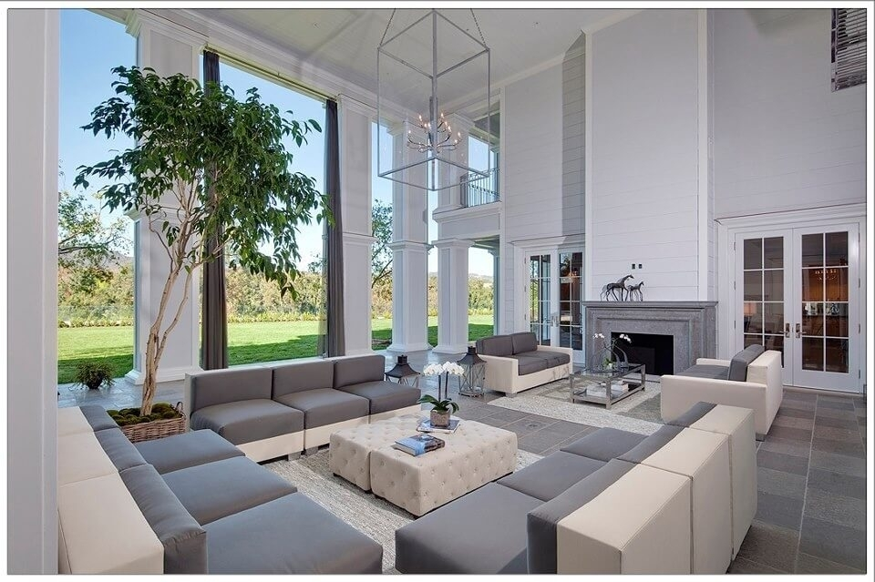 50 Beautiful Living Rooms With Ottoman Coffee Tables In 2 Tone Grey And White Marble Coffee Tables (View 15 of 40)