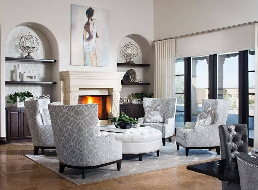 50 Beautiful Living Rooms With Ottoman Coffee Tables With Round Button Tufted Coffee Tables (Image 2 of 40)