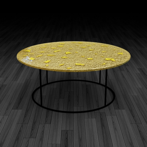 6.glass Coffee Table 'gold Leaf Throughout Gold Leaf Collection Coffee Tables (Photo 20 of 40)
