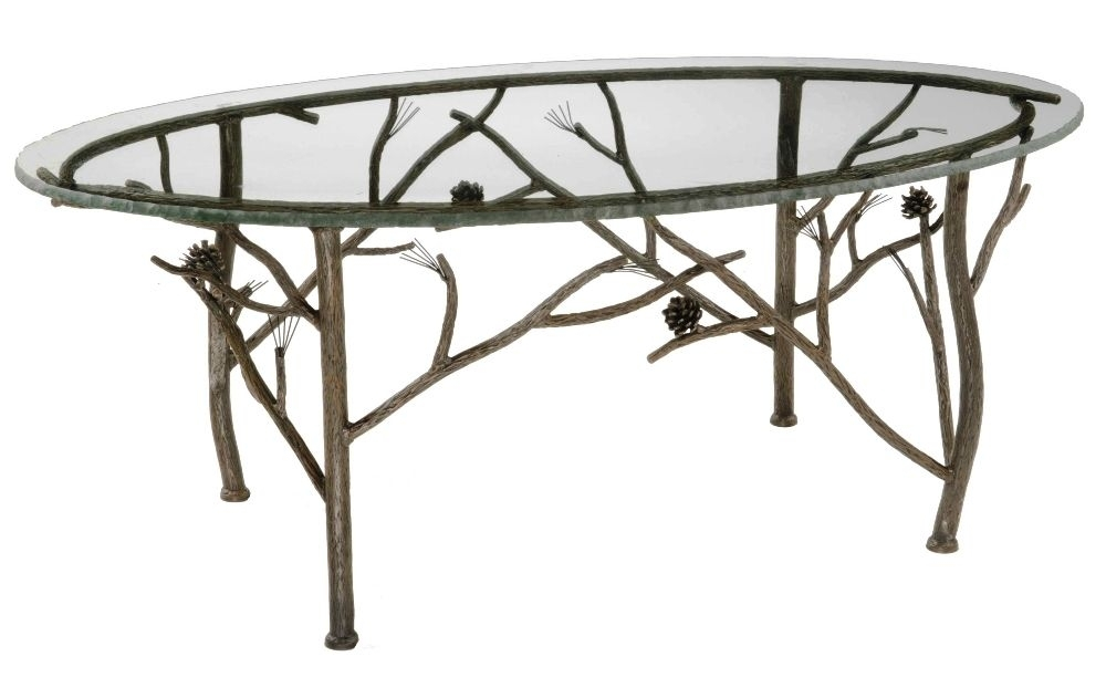 A Beautiful Pine Iron Oval Coffee Table Made Of Hand Forged Iron With Chiseled Edge Coffee Tables (View 16 of 40)
