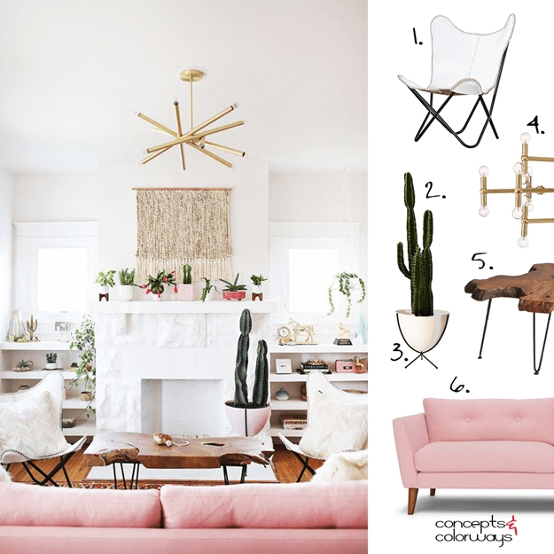 A White Living Room With Blush Pink And Brass Accents In 2018 Within Cacti Brass Coffee Tables (Image 5 of 40)