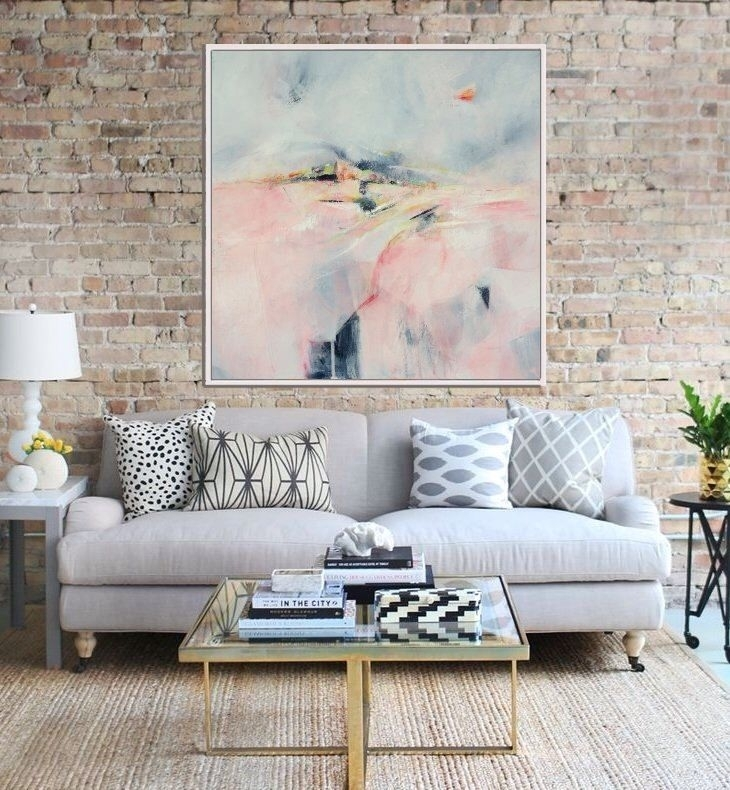 Abstract Landscape Art Print, Abstract Giclee Print , Pink And Grey For Expressionist Coffee Tables (Image 8 of 40)