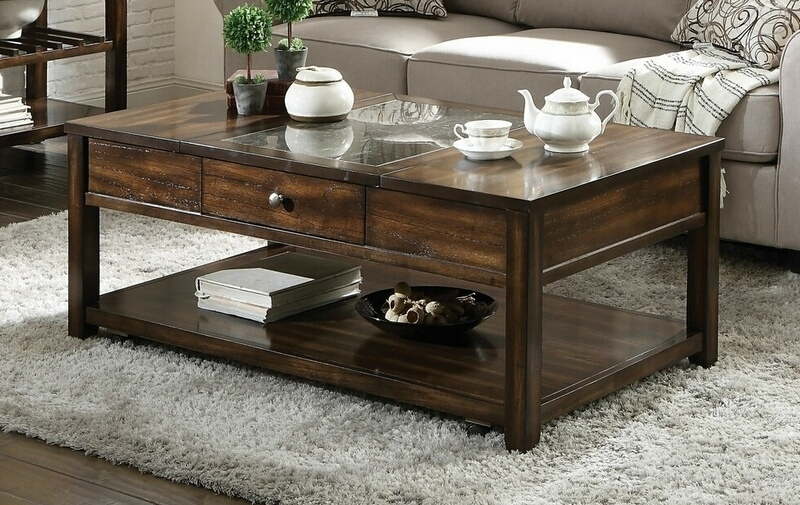 Acme 83020 Cilnia Walnut Finish Wood Marble Inlay Lift Top Coffee Table In Walnut Finish 6 Drawer Coffee Tables (Image 2 of 40)