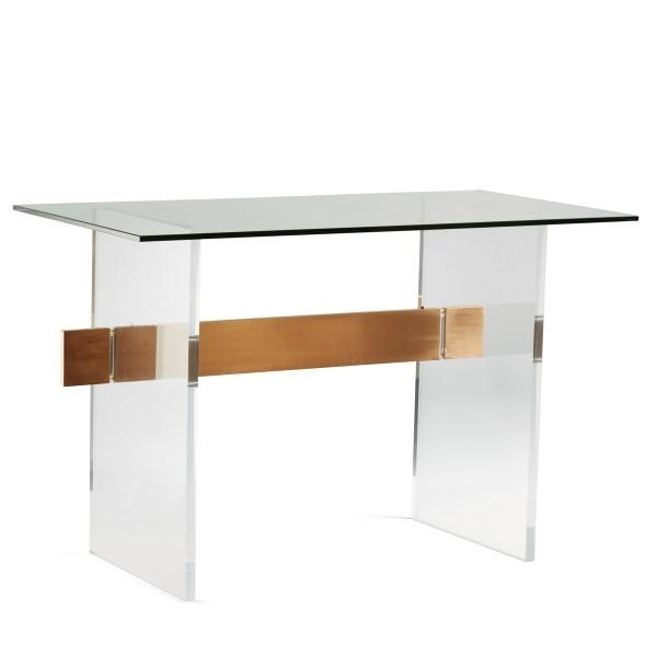 Acrylic Brushed Brass Panel Glass Coffee Table With Acrylic & Brushed Brass Coffee Tables (Image 4 of 40)