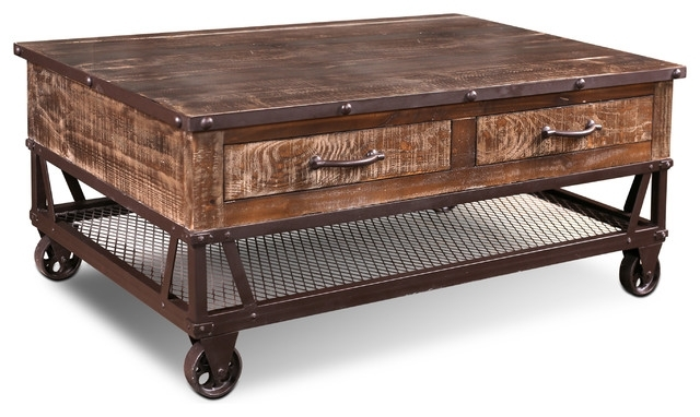 Addison Loft Rustic Solid Wood Coffee Table On Casters – Industrial For Weaver Dark Rectangle Cocktail Tables (Image 2 of 40)