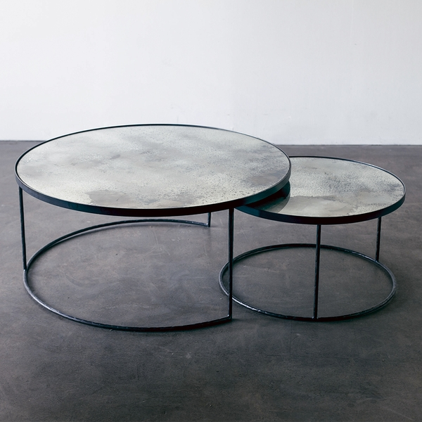 Aged Mirror Nesting Coffee Table Setnotre Monde | Lekker Home With Set Of Nesting Coffee Tables (View 12 of 40)