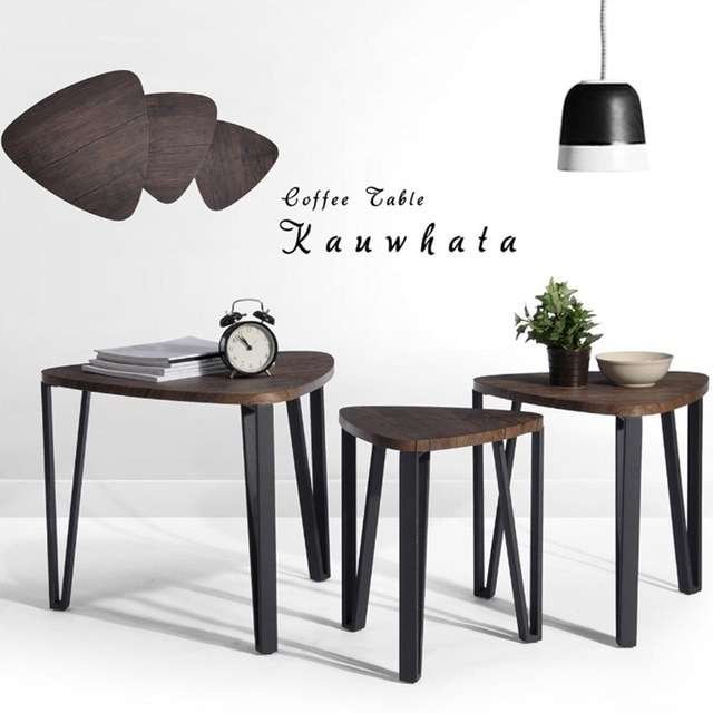 Aingoo Coffee Table Set Of 3 End Side Table Stacking Tea Table Brown Regarding Inverted Triangle Coffee Tables (View 12 of 40)