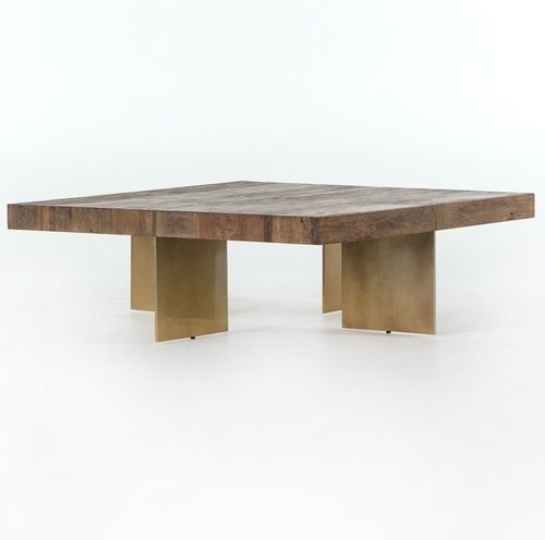 Alec Reclaimed Wood Square Coffee Table With Brass Legs | Main For Weaver Dark Rectangle Cocktail Tables (Image 3 of 40)