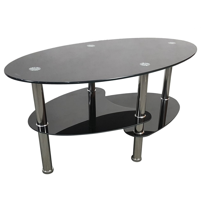 Aliexpress : Buy Dual Fishtail Style Oval Tempered Glass Coffee In Pine Metal Tube Coffee Tables (Image 2 of 40)