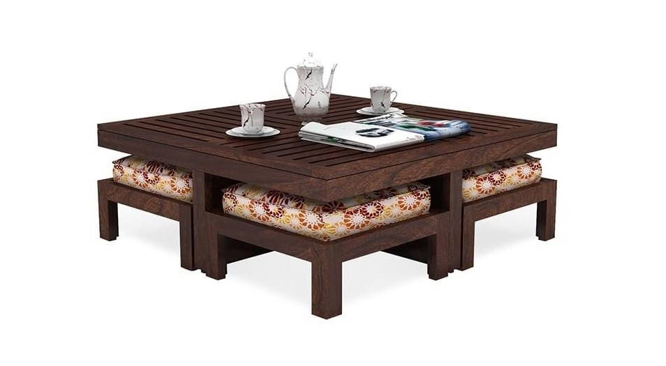Altavista Reefer Solid Wood Coffee Table With Stools (Walnut Finish) With Walnut Finish 6 Drawer Coffee Tables (Image 3 of 40)