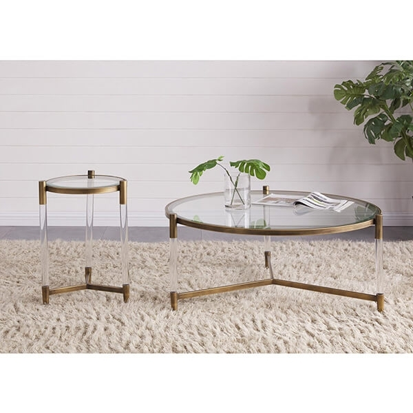 Amaris Acrylic Coffee Table Glass Top, Transparent/brushed Brass For Acrylic & Brushed Brass Coffee Tables (Image 8 of 40)