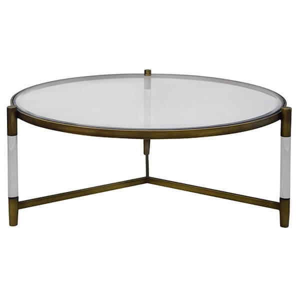 Amaris Acrylic Coffee Table Glass Top, Transparent/brushed Brass With Acrylic & Brushed Brass Coffee Tables (Image 9 of 40)