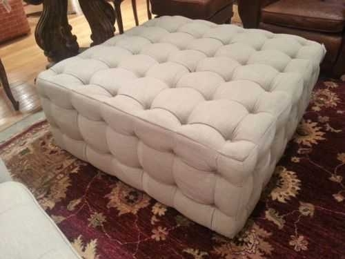 Amazing Square Tufted Ottoman Coffee Table Of Linen Button Tufted For Button Tufted Coffee Tables (View 10 of 40)