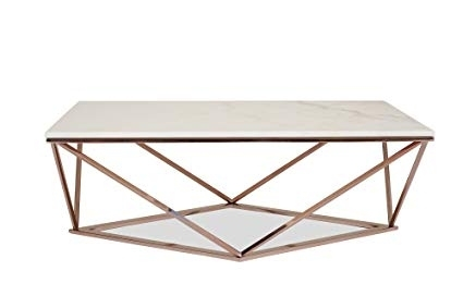 Amazon Stella White Marble Coffee Table Modern Gold Coffee Concepts Regarding Modern Marble Iron Coffee Tables (Image 2 of 40)