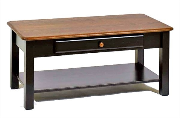 Amish Two Tone Coffee Table With Drawer Oak Hardwood This Attractive With Regard To 2 Tone Grey And White Marble Coffee Tables (View 19 of 40)