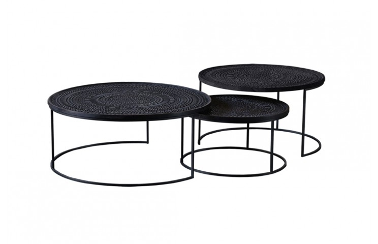 Ancestors Tabwa Round Nesting Coffee Table 3 Set | Viesso With Regard To Set Of Nesting Coffee Tables (View 31 of 40)