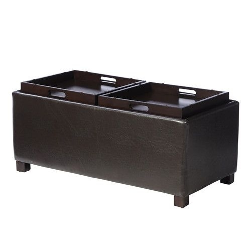 Andover Mills Clarke Double Tray Storage Ottoman – Wayfair; $ (View 18 of 40)