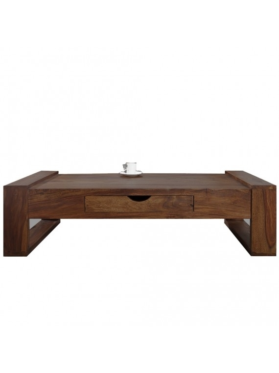 Angel's Riverton Solid Sheesham Wood Coffee Table With Drawer In Throughout Walnut Finish 6 Drawer Coffee Tables (Image 6 of 40)