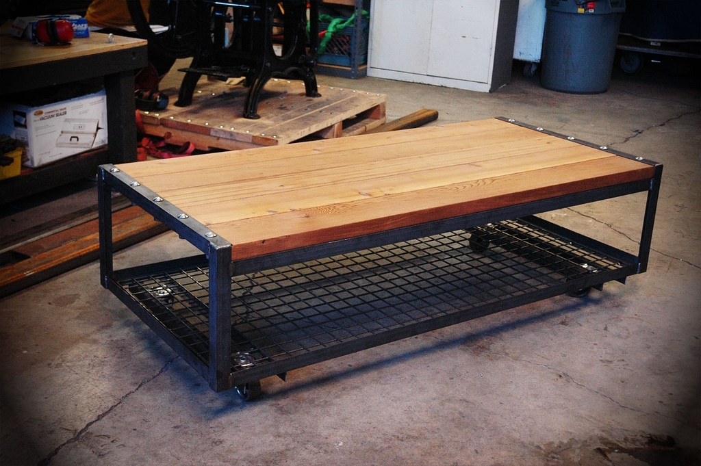 Angle Iron Coffee Table | Independent Machine Works Throughout Iron Wood Coffee Tables With Wheels (View 25 of 40)