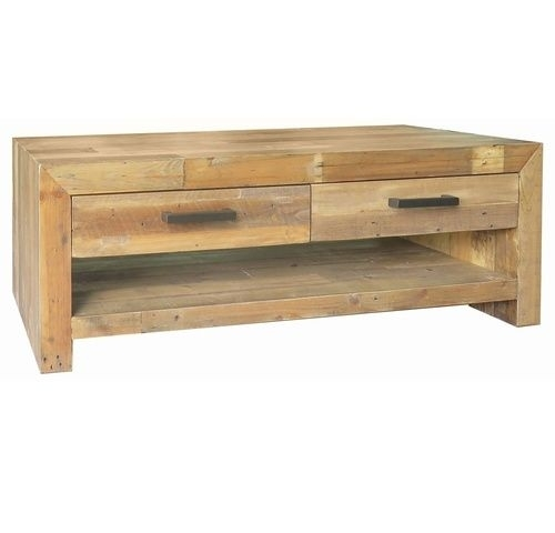 Angora Natural Reclaimed Wood 4 Drawer Coffee Table | Coffee Pertaining To Weaver Dark Rectangle Cocktail Tables (Image 4 of 40)