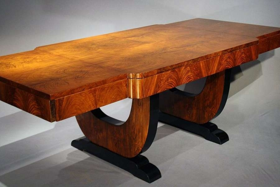 Antique Art Deco Walnut Dining Table – Loveday Antiques Throughout Antiqued Art Deco Coffee Tables (Image 7 of 40)