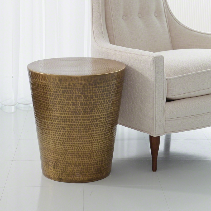 Antique Brass Hammered Drum Side Table – Dear Keaton Intended For Antique Brass Coffee Tables (View 27 of 40)