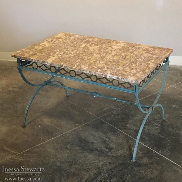 Antique Country French Wrought Iron Marble Top Coffee Table – Inessa Within Iron Marble Coffee Tables (Image 1 of 40)