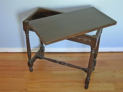 Antique Folding Top Side Table With Hidden Storage (View 21 of 40)