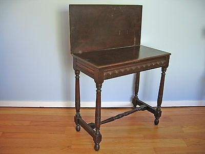 Antique Folding Top Side Table With Hidden Storage (View 24 of 40)